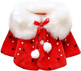 Weixinbuy Baby Girls' Faux Fur Cloak Lapel Coat Winter Warm Jacket