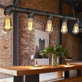 WUPYI2018 - Lámpara colgante vintage, retro, lámpara de techo industrial, tubo de agua, 5 x E14