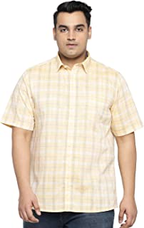 All Men's Checkered Regular Fit Casual Shirt (1001883341_Yellow_52 cm_Yellow_5)