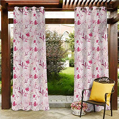 Floral Outdoor Polyester Drapes Outdoor Summer Drapes for Pergola/Garden Abstract Florets Buds Twigs in Pink Tones Silhouettes Cheerful Doodle Pale Coral Magenta Pink 84'W by 84'L(K214cm x G214cm)