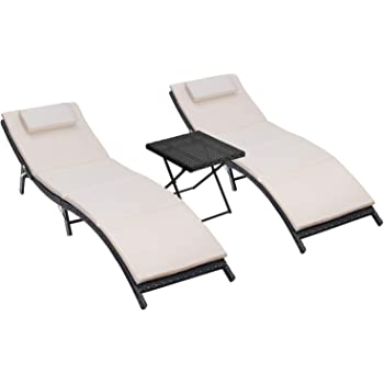 Homall 3 Pieces Patio Chaise Lounge Chair Sets Outdoor Beach Pool PE Rattan Reclining Chair with Folding Table and Cushion (Beige)