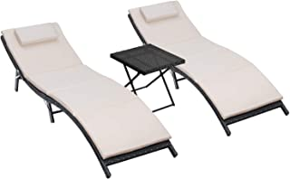 Homall 3 Pieces Patio Chaise Lounge Chair Sets Outdoor Beach Pool PE Rattan Reclining Chair with Folding Table and Cushion...