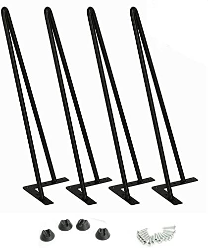 new arrival 28 wholesale Inches Hairpin Furniture Legs, Pack of 4, Black Heavy Duty Coffee Table Legs with 4 Rubber online sale Floor Protector, Heavy Duty Sturdy Metal Steel Legs outlet online sale