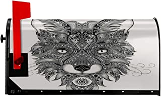 """NCXIAO Magnetic Mailbox Cover - 18""""W x 21""""H, Sharp Eyed Fox Head Portrait Ethnic Mask Celtic Animal Pattern Asian Style Image,Mailbox Wraps Post Letter Box Cover"""