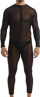 Lejafay Men`s Zentai Stretchy Catsuit Bodysuit Night Club Mesh Transparent Bodycon Jumpsuits