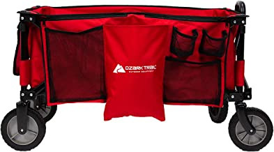 Durable,Convenient,Folds for Easy Storage Ozark Trail Folding Wagon, Perfect for Hauling All Your Essentials Around The Campsite with 7-inch Wheels and Double Layer Fabric (Red)