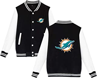 Clear Rain Miami Dolphins Baseball Jacket Unisex Varsity Baseball Jacket Sweater Coat
