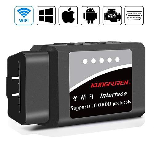 kungfuren OBD2 Diagnosegerät, Auto WiFi Diagnose OBD Stecker Kompatibel mit iOS, Android & Windows-Geräten verbindet Wireless für Autos