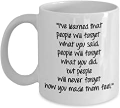 Maya Angelou Quote Mug - I've learned that people will forget what you said - Funny Coffee Cup - Novelty Birthday Gift Idea
