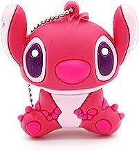 Novelty Stitch Pink Shape Design 16GB USB 2.0 Flash Drive Cute Memory Stick Stitch Thumb Drive Data Storage Pendrive Cartoon Jump Drive Gift (Stitch Pink-16GB)