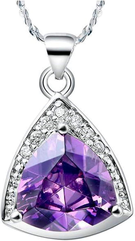 Beydodo Colgantes Mujer Chapados en Oro,Colgante Mujer Plata Triángulo con Circonita Púrpura