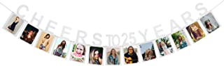 Cheers To 25 Years Photo Banner - Happy 25 Years Old Birthday 25th Anniversary Party Decoration Sign Silver