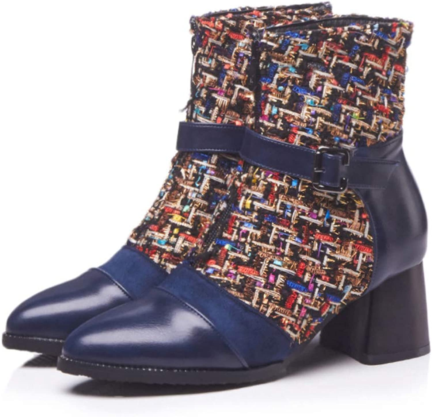 Women's Booties 2018 Fall Boots Buckle Chunky Heel Pointed Toe shoes