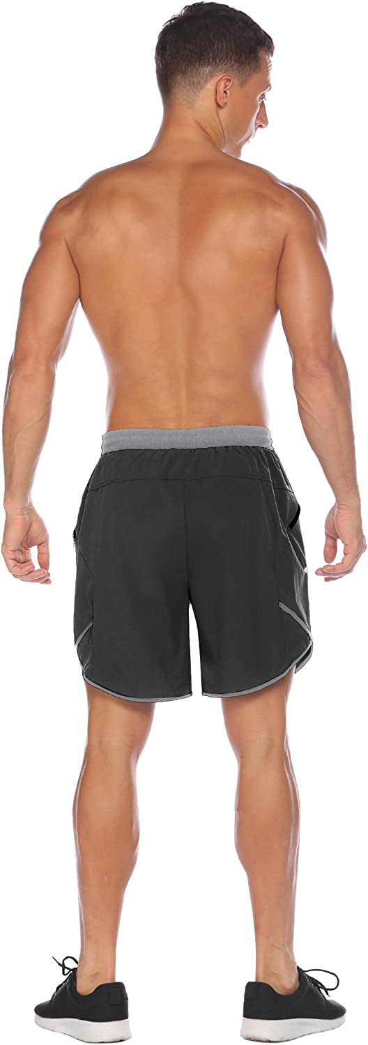 COOFANDY Mens 7 Running Shorts Quick Dry Gym Workout Short Pants Bodybuilding Training Athletic Jogger with Zipper Pockets