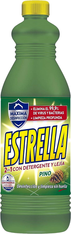 Estrella 2 en 1 Lejía con Detergente Pino, Desinfección y limpieza sin huella para el hogar - 1,35 litros