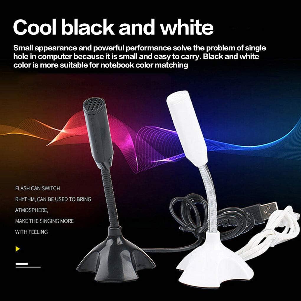 Black Fengyuanhong Desktop USB Microphone Computer Laptop Mini Microphone Flexible Tube Neck Adjustable PC Mic