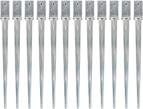 Tidyard 2/6/12 stuks grondpennen van verzinkt staal, zilverkleurig, pluggen voor tuinhek, grondankers voor tuinhek, 7 x 7 ...