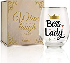 17oz Wine Glass Appreciation Birthday Boss Lady Gifts Funny Boss Lady Gift idea for Women//Female in Boss Day Christmas