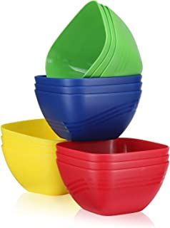 Zilpoo 12 Pack – Reusable Hard Plastic Cereal | Soup Bowls 20 oz. Unbreakable Microwave | Dishwasher Safe, BPA Free, Small Kids Fun Assorted Colors Set
