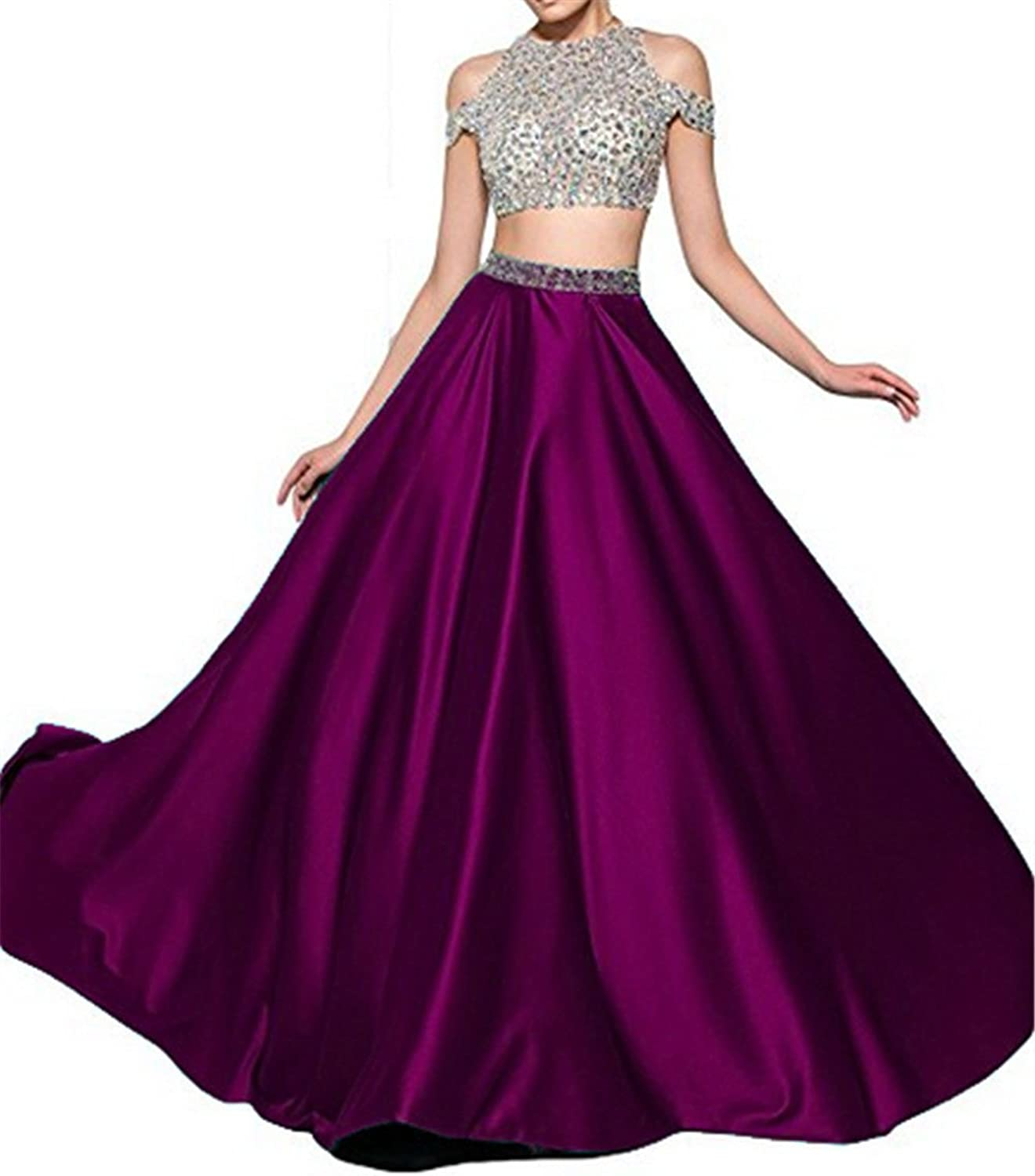 Uryouthstyle Sexy Prom Dresses 2 Pieces Long Prom Gown 2017