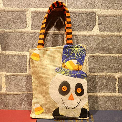 WSJKHY Halloween Halloween linnen pompoen dode tas avondjurk linnen snoepzak suiker geschenk tas steun B