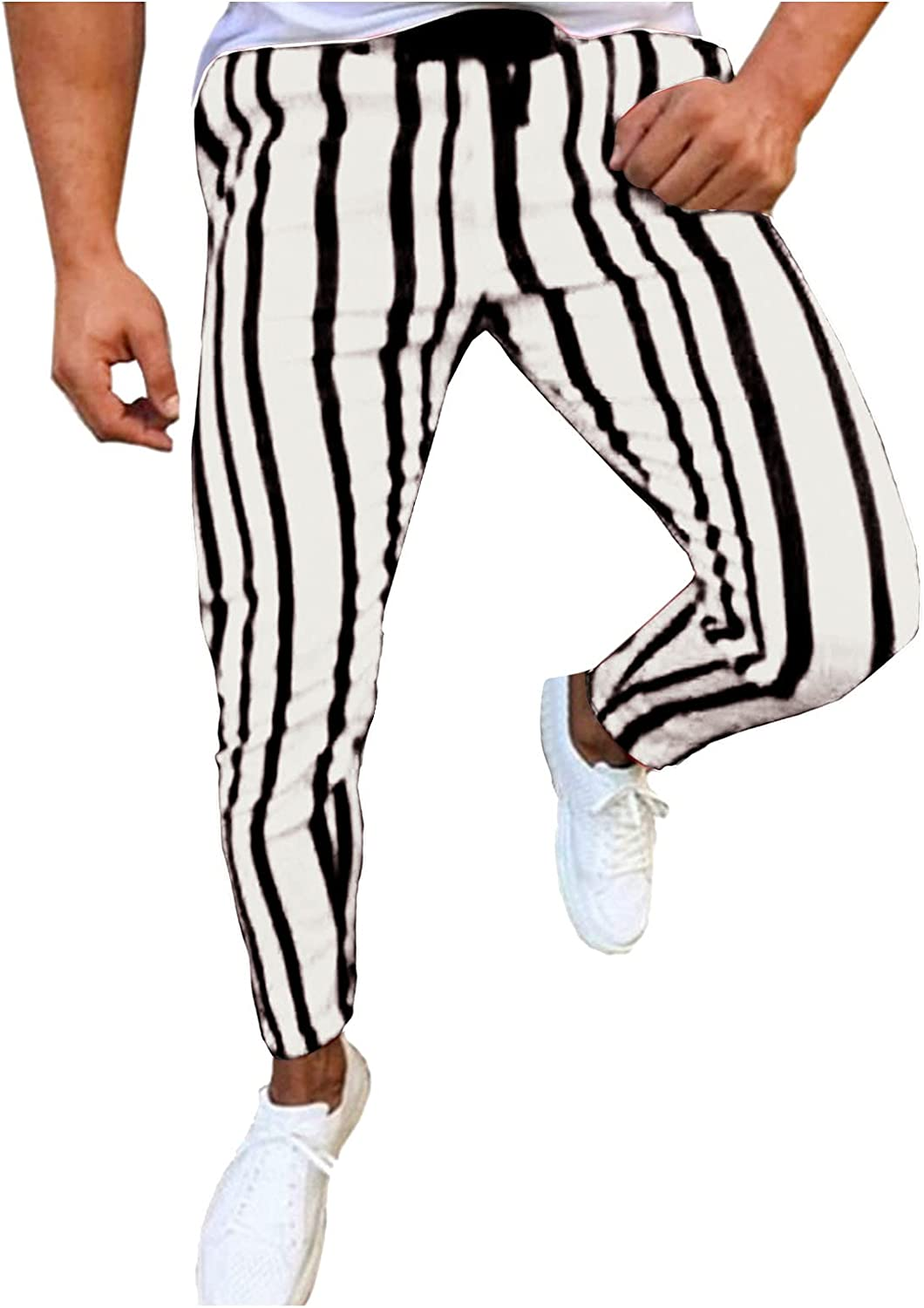 YUNDAN Men's Athletic Running Sport Jogger Pants Slim Striped Workout Casual Joggers Tapered Stripe Sweatpants