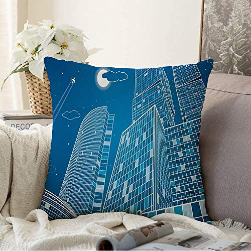 Decorative Pillow Soft Cover Architecture Business Neon Contour Best Energy Technology City Infrastructure Industrial Landmarks Throw Pillow Covers Case for Couch Bed Sofa 18x18 Inch