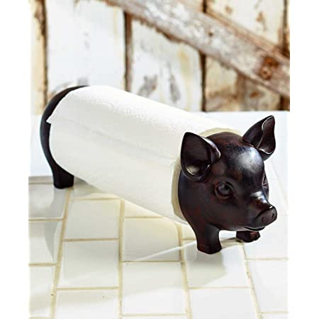 PIG PAPER TOWEL HOLDER KITCHEN COUNTRY FARMHOUSE DECOR WEDDING GIFT HOME DECOR