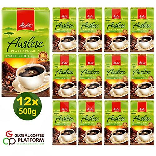 Melitta Auslese klassisch-mild Filterkaffee 12x 500g (6000g) - Melitta Café gemahlen