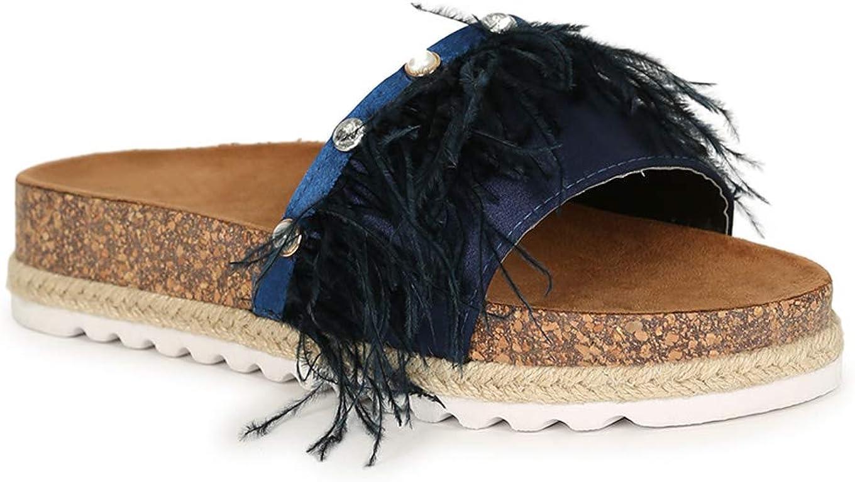 Alrisco Feathered Pearl Rhinestone Cork Espadrille Slide Sandal 20105 - Navy Mix Media (Size: 5.5)