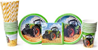 Tractor Time for 16 Guests: Straws, Dessert Plates, Beverage Napkins, and Cups