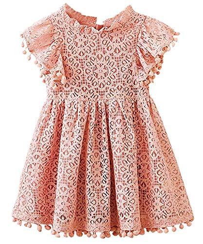 2Bunnies Girl Vintage Lace Pom Pom Trim Birthday Party Dress (Dusty Pink, 4T)