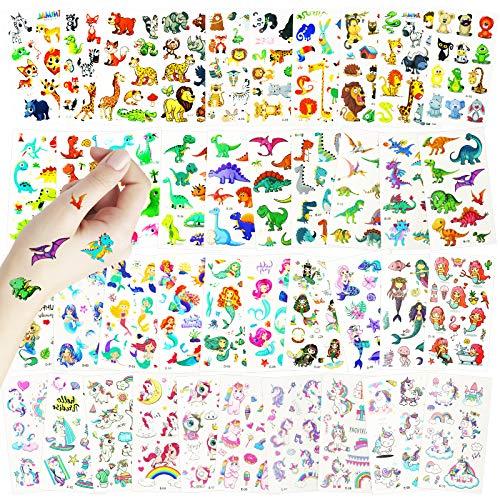 Magro Tattoo Kinder,40 Blätter Temporäre Tattoos für Kinder,Aufkleber für Einhorn und Meerjungfrau, Dinosaurier-Aufkleber und Tieraufkleber. für Mädchen Kindergeburtstag Mitgebsel Einhorn Party