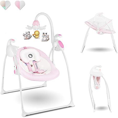 Moskitonetze Bluetooth Jintaihua Elektrische Baby Wiege Matte Automatische Babyschaukel Faltbare Babyschale Platz Safe Babywippe Vibration Melodie Fernsteuerung f/ür 0-36 Monate Musik Timer