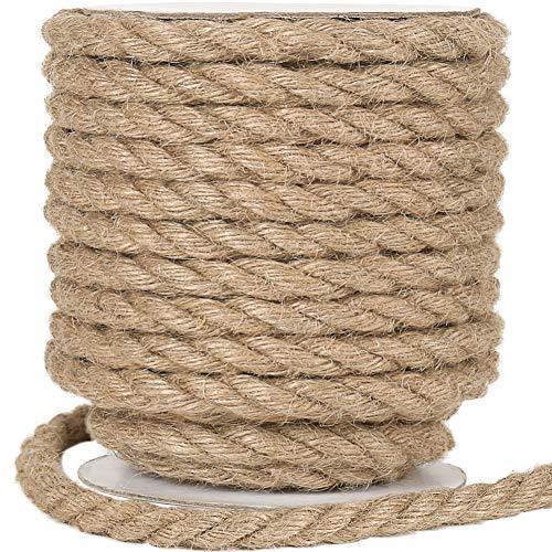 Vivifying - Corda in juta da 12 mm, 90 m, naturale, resistente, per lavori artigianali, tiragraffi per gatti, confezione (marrone)