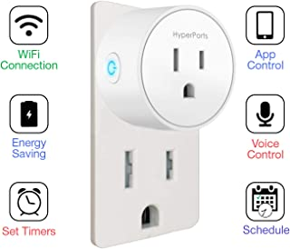 Circular Mini Smart Plug Wi-fi Socket Outlet Compatible w/Alexa, Google Home & IFTTT, Timer Function, Controls Electrical Appliances & Devices, Overcharge Prevention (No Hub Required)