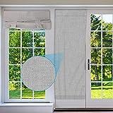 Yideng Paneles de puerta franceses mezclados de lino natural cinta sin perforaciones cortina superior de 172 x 66 cm, cortina opaca plisada para puerta francesa, suave para dormitorio cocina