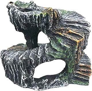 爬虫類シェルター ウェット シェルター 亀 飼育 亀隠れ家 水槽 浮き島 両生類 [waschosen] (岩 DB-018)
