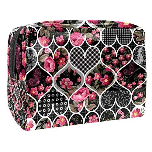 Trousse de toilette multifonction pour femme - Motif floral et cœur