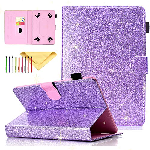 Uliking Bling Glitter Universal 9.5-10.5 Inch Tablet Case for iPad 9.7', iPad 10.2 Case 2019, Fit iPad Air 3, Pro 10.5 Inch Tablet, Cover For Samsung Galaxy Tab A 10.1 2019 SM-T510, Purple