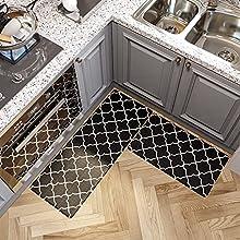 Alfombras Cocina de PVC, Alfombras Impermeables y Resistentes al Aceite, Adecuadas para Cocina, Sala de Estar y Dormitorio 2 Piezas, 45x75cm + 45x120cm,Negro