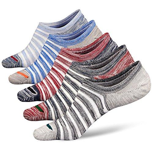Mens No Show Socks Non Slip Athletic Cotton Ankle Socks, Mens Trainer Socks Invisible Low Cut Socks with Non-Slip Grips, 5 pairs - Multicoloured-1 - UK men's shoe 6-10