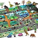 WE-WIN Tapis de Jeu Dinosaure,Tapis de Jeu Grande Ville Village et Route, Tapis de Jeu Souples et pliants pour Enfants Enfants Garçons Filles 100cm x 130cm