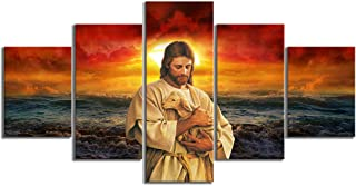 WSJXY 5 Piece Canvas Wall Art Canvas Painting Prints Home Decoration 5 Panel Jesus Holding A Lamb Seascape Sunset Landscape Wall Art Pictures Poster