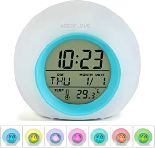 Kids Alarm Clock, Wake Up Digital Clock for Kids, 6 Natural Sound 7 Colors Changing Light Bedside Clock for Boys Girls Bedroom, with Indoor Temperature Calendar, Touch Control and Snoozing