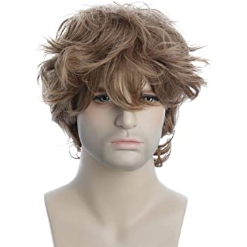 Karlery Male Mens Short Curly Fluffy Brown Wig with Bang Halloween Cosplay Wig