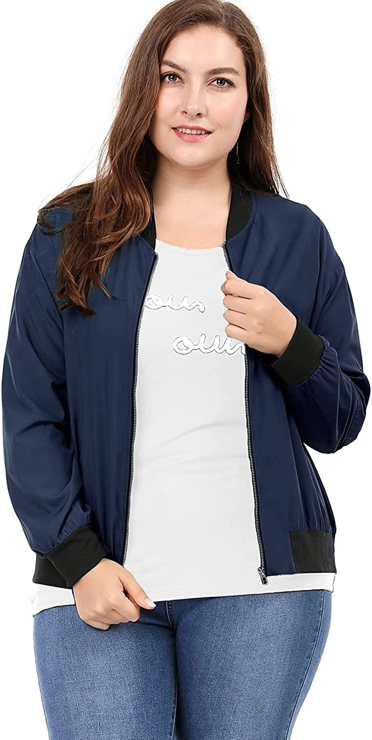uxcell Women's Plus Size Contrast Lightweight Industry No. 1 Max 67% OFF Trim Zip Bo Pocket