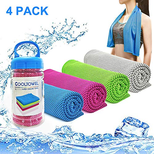 YouCoulee Cooling Towel for Instant Cooling Relief, 4 Packs Cool Towel for Neck,Cooling Towels Neck Cooler for Extremely Hot Weather,Ice Towel Chilly Towel for Yoga,Sport,Gym,Workout,Running(40″x 12″)