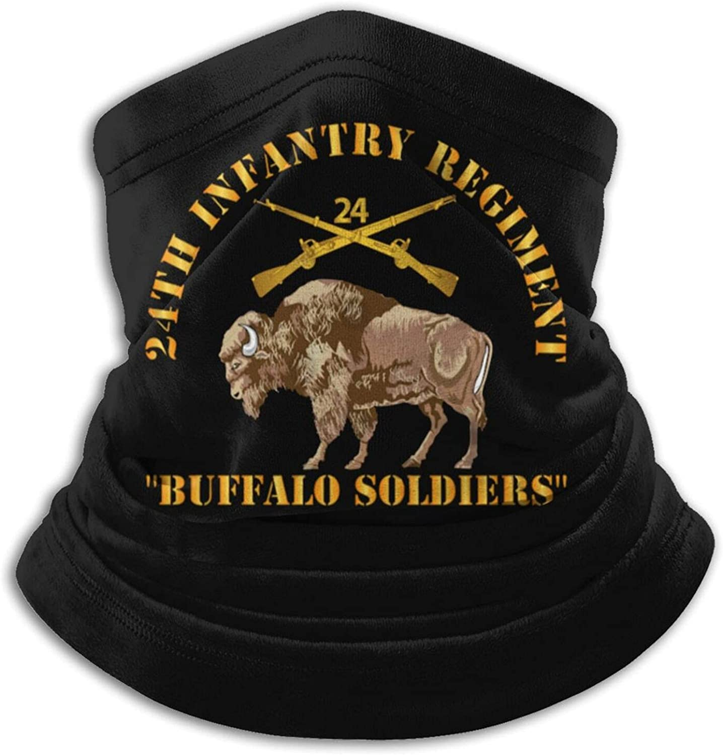 24th infantry regiment - buffalo soldiers w 24th inf branch insignia unisex winter neck gaiter face cover mask, windproof balaclava scarf for fishing, running & hiking