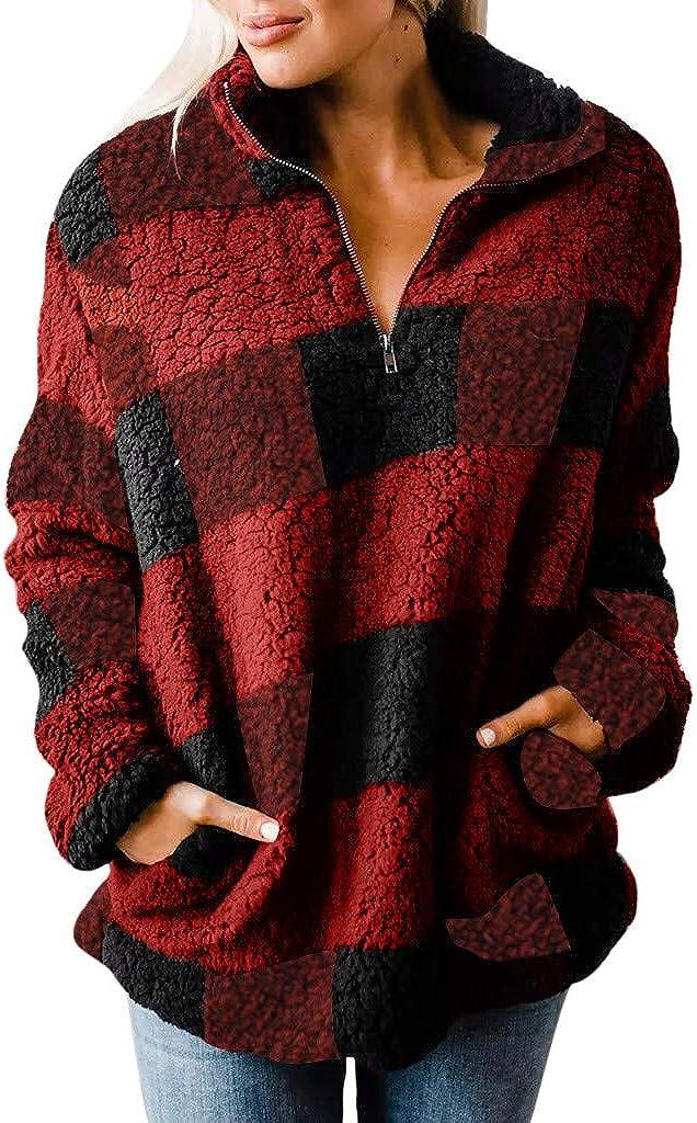 Vetinee Womens Color Block Sherpa Hoodie Pullover Zip Pocket Fleece Fuzzy Sweatshirt